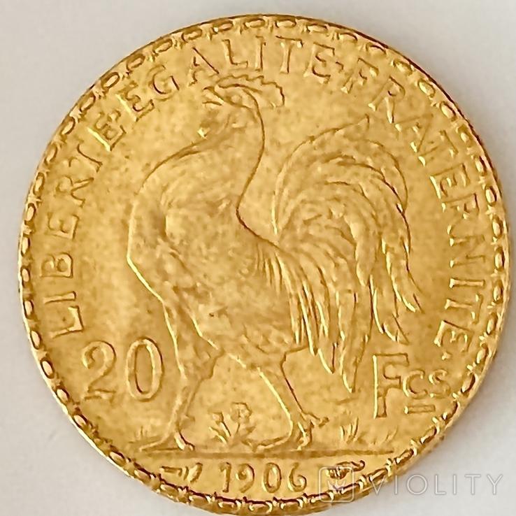 20 франков. 1906. Петух. Франция (золото 900, вес 6,46 г), фото №7