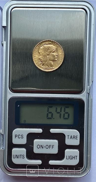 20 франков. 1906. Петух. Франция (золото 900, вес 6,46 г), фото №9