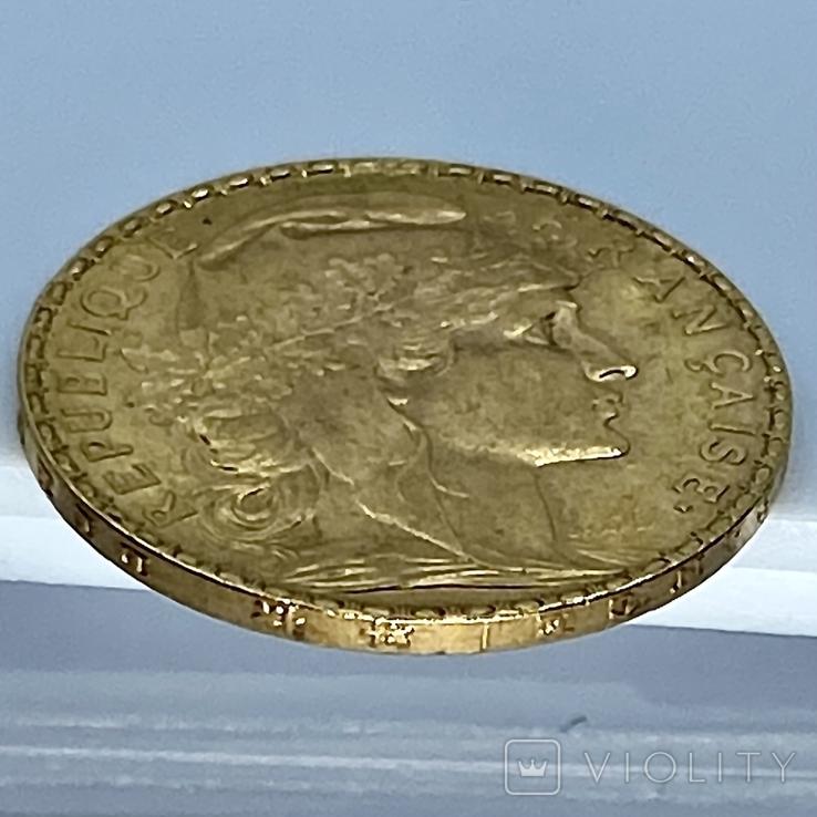 20 франков. 1906. Петух. Франция (золото 900, вес 6,46 г), фото №10