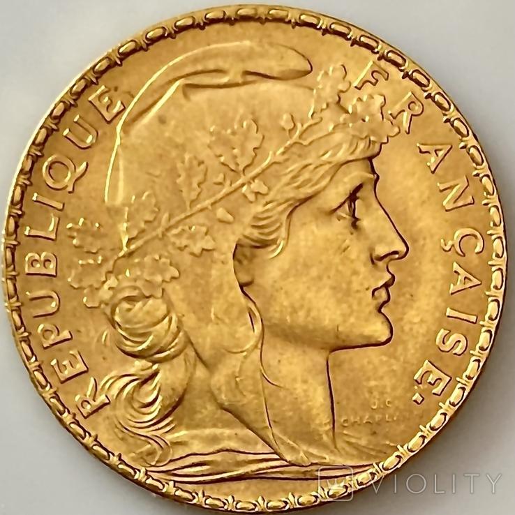 20 франков. 1907. Петух. Франция (золото 900, вес 6,46 г), фото №3