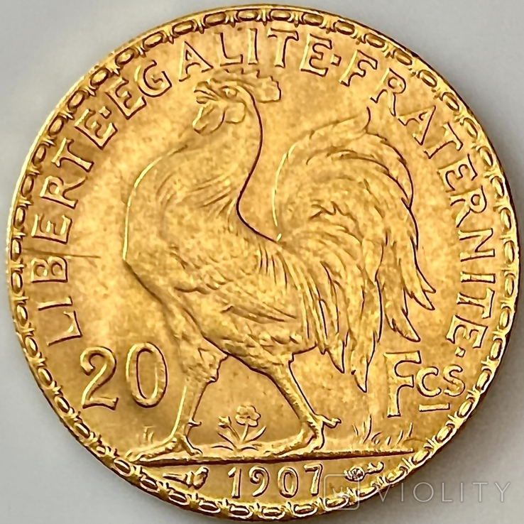 20 франков. 1907. Петух. Франция (золото 900, вес 6,46 г), фото №4