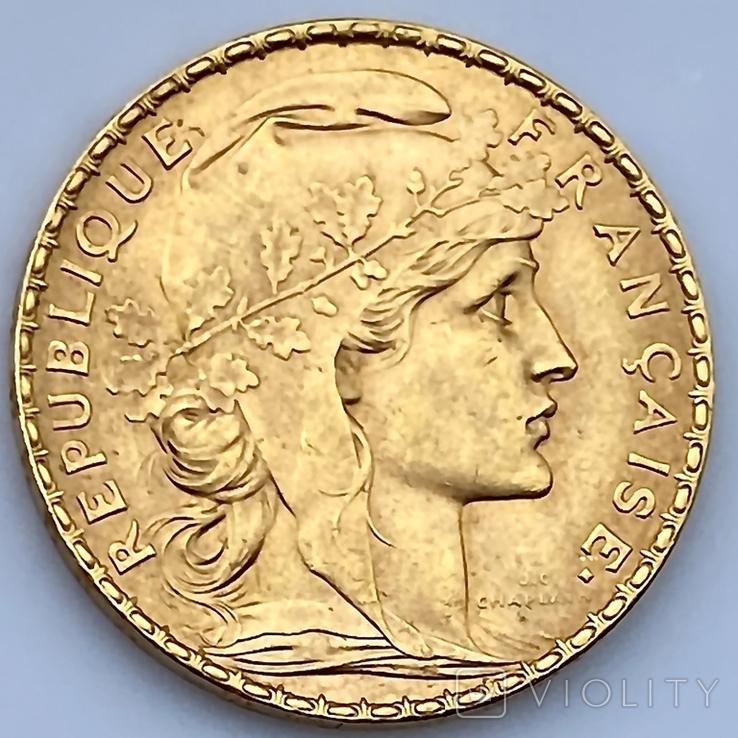 20 франков. 1907. Петух. Франция (золото 900, вес 6,46 г), фото №5