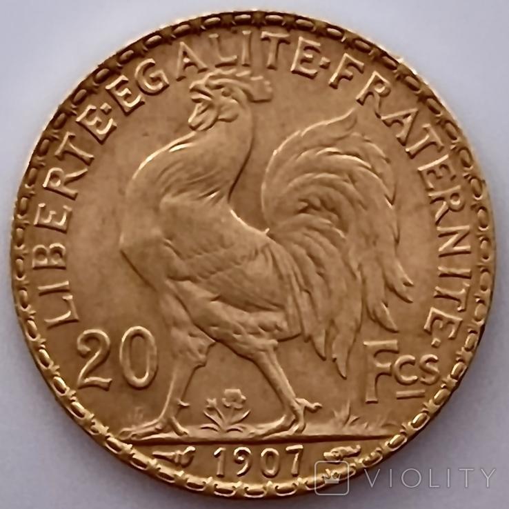 20 франков. 1907. Петух. Франция (золото 900, вес 6,46 г), фото №7
