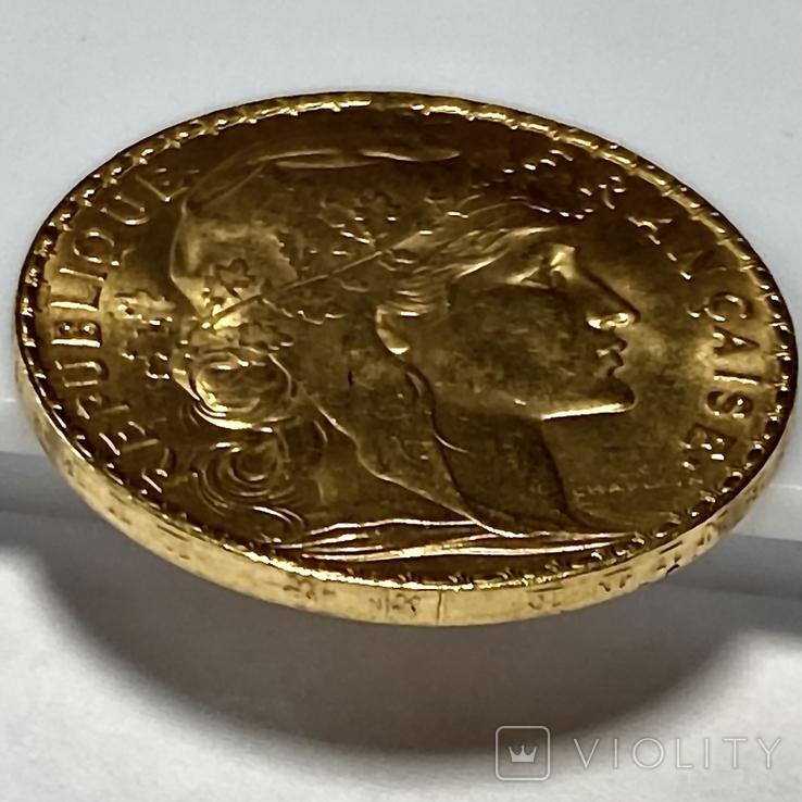 20 франков. 1907. Петух. Франция (золото 900, вес 6,46 г), фото №8