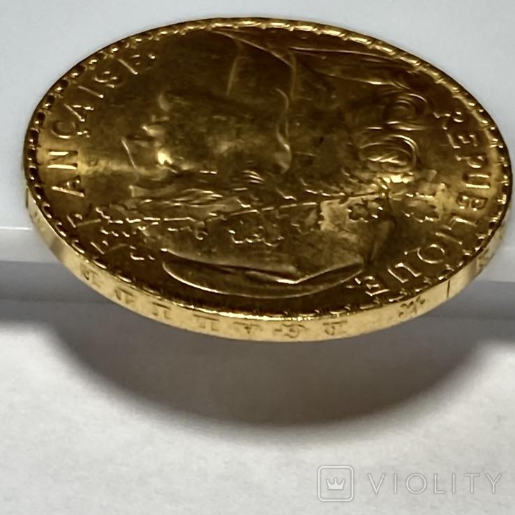 20 франков. 1907. Петух. Франция (золото 900, вес 6,46 г), фото №9