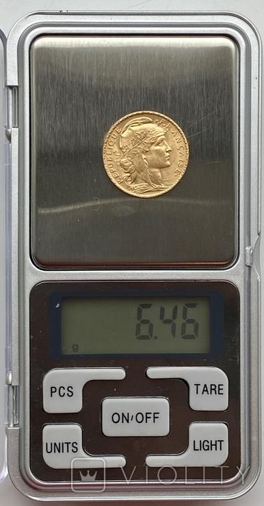 20 франков. 1907. Петух. Франция (золото 900, вес 6,46 г), фото №12