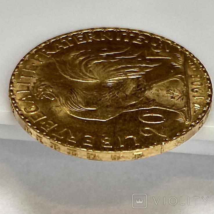 20 франков. 1908. Петух. Франция (золото 900, вес 6,43 г), фото №8