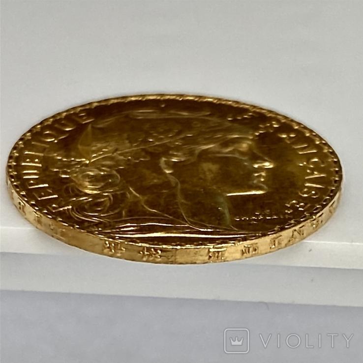 20 франков. 1908. Петух. Франция (золото 900, вес 6,43 г), фото №9
