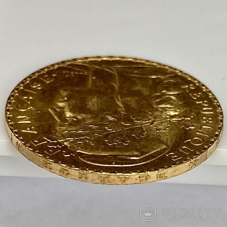 20 франков. 1908. Петух. Франция (золото 900, вес 6,43 г), фото №10