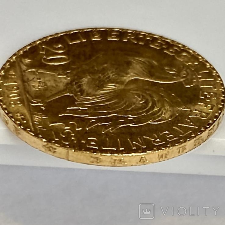 20 франков. 1908. Петух. Франция (золото 900, вес 6,43 г), фото №11