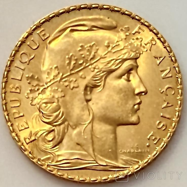 20 франков. 1910. Петух. Франция (золото 900, вес 6,47 г), фото №3