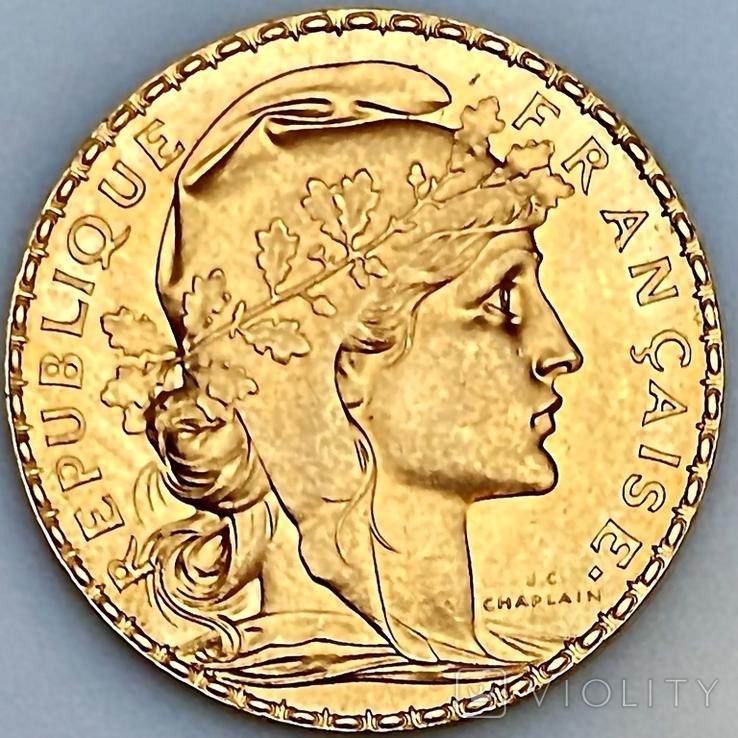 20 франков. 1910. Петух. Франция (золото 900, вес 6,47 г), фото №7