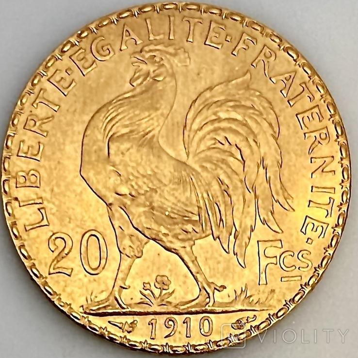 20 франков. 1910. Петух. Франция (золото 900, вес 6,47 г), фото №8