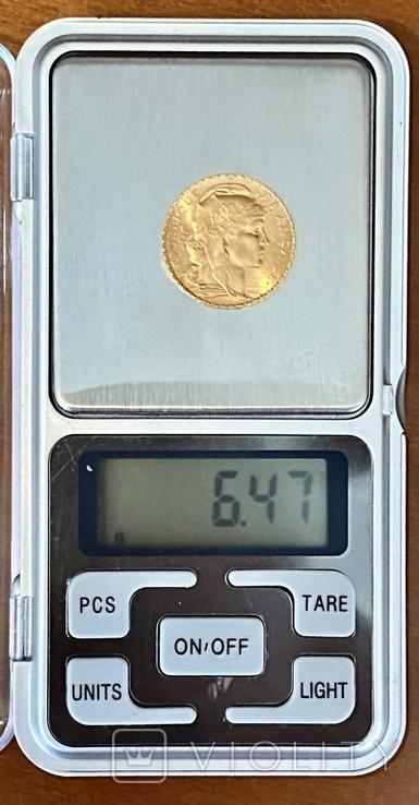 20 франков. 1910. Петух. Франция (золото 900, вес 6,47 г), фото №9