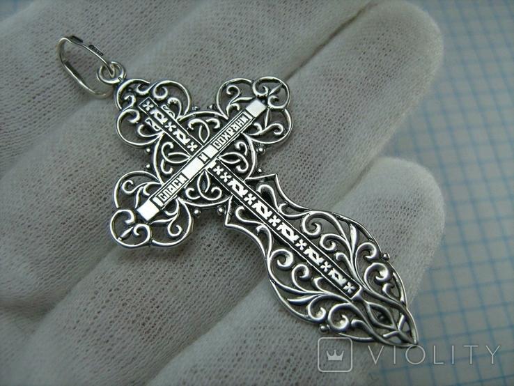 Серебряный Крест Большой Растительный Узор Геральдическая Лилия 925 проба Серебро 477, фото №3