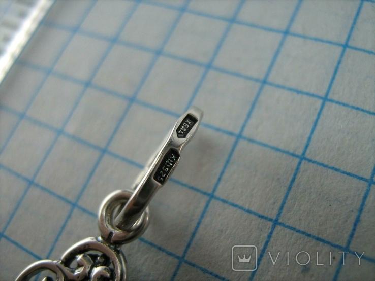 Серебряный Крест Большой Растительный Узор Геральдическая Лилия 925 проба Серебро 477, фото №5