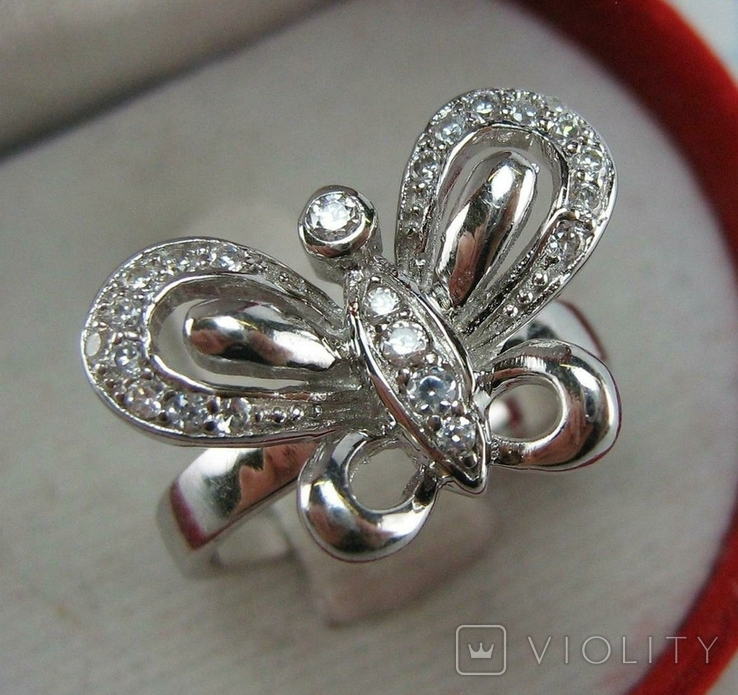 Новое Серебряное Кольцо Бабочка Камни Фианиты Размер 16.5 Серебро 925 проба 871, фото №2