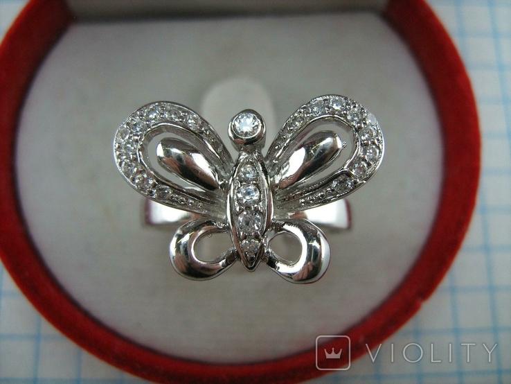 Новое Серебряное Кольцо Бабочка Камни Фианиты Размер 16.5 Серебро 925 проба 871, фото №3