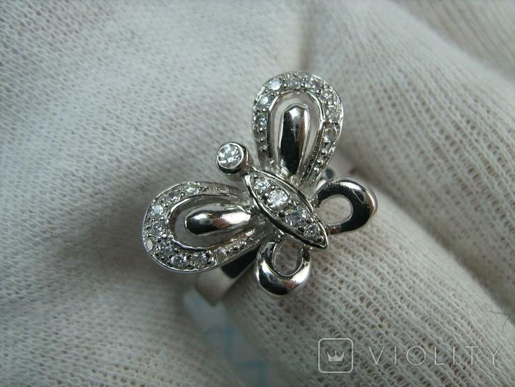 Новое Серебряное Кольцо Бабочка Камни Фианиты Размер 16.5 Серебро 925 проба 871, фото №6