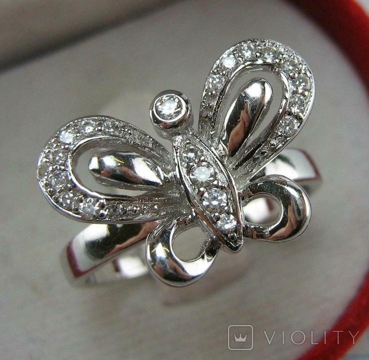 Новое Серебряное Кольцо Бабочка Камни Фианиты Размер 19.25 Серебро 925 проба 872, фото №2