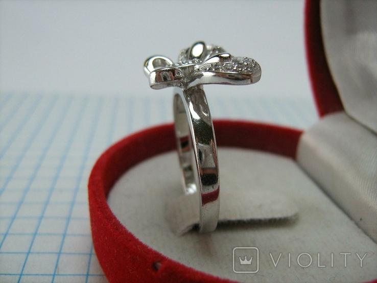 Новое Серебряное Кольцо Бабочка Камни Фианиты Размер 19.25 Серебро 925 проба 872, фото №4