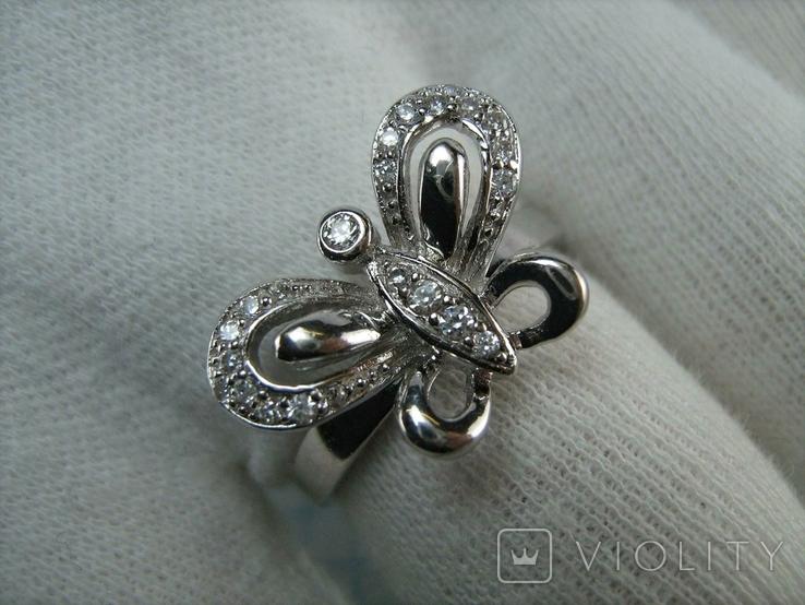 Новое Серебряное Кольцо Бабочка Камни Фианиты Размер 19.25 Серебро 925 проба 872, фото №6