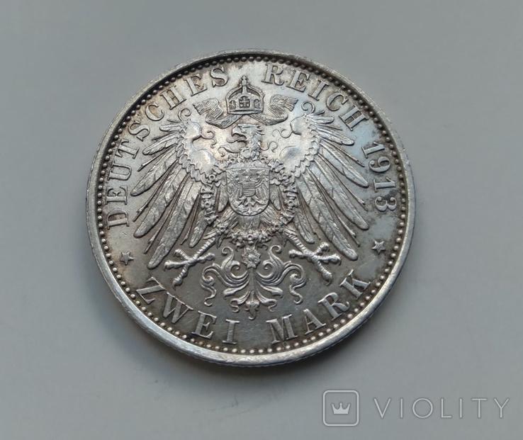 2 марки 1913 Прусія 25 років правління Вільгельма II, фото №4