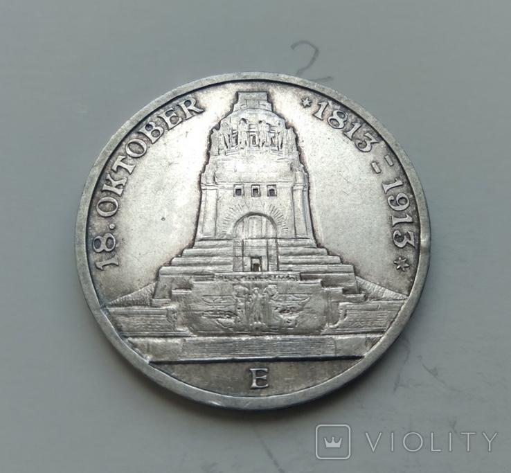 3 марки 1913 Саксонія 100-та річниця Битви Народів, фото №3