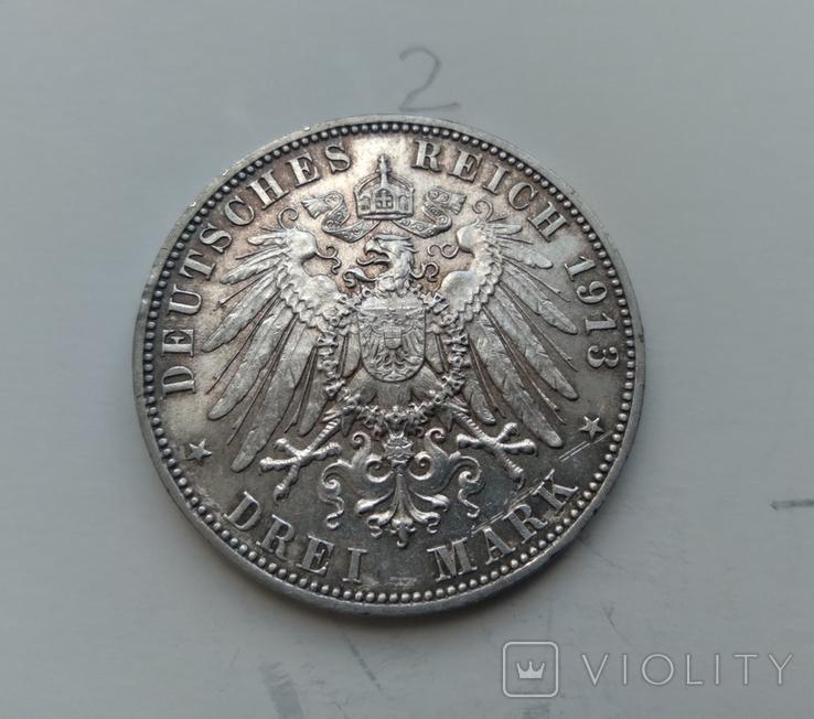 3 марки 1913 Саксонія 100-та річниця Битви Народів, фото №4