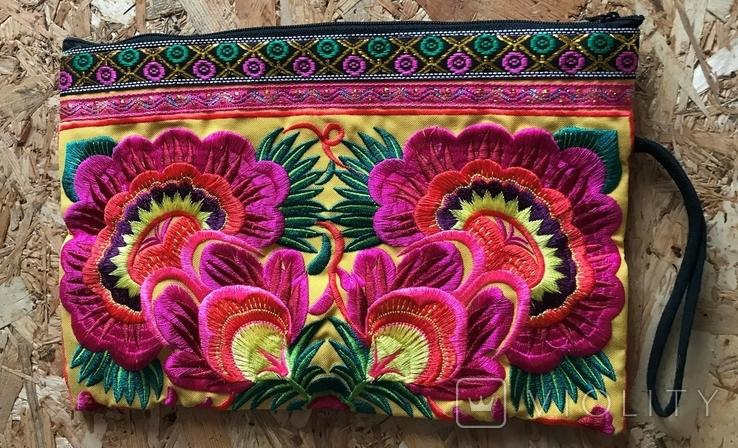 Сумочка клатч этническая, разноцветная цветочная вышивка, HMONG, Таиланд, фото №2
