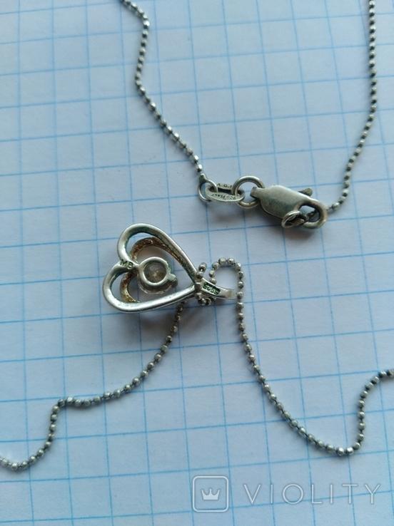 Кулон с цепочкой серебро 925 проба с камнем, фото №6