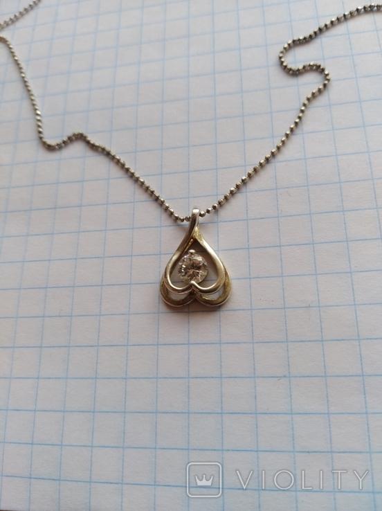 Кулон с цепочкой серебро 925 проба с камнем, фото №8