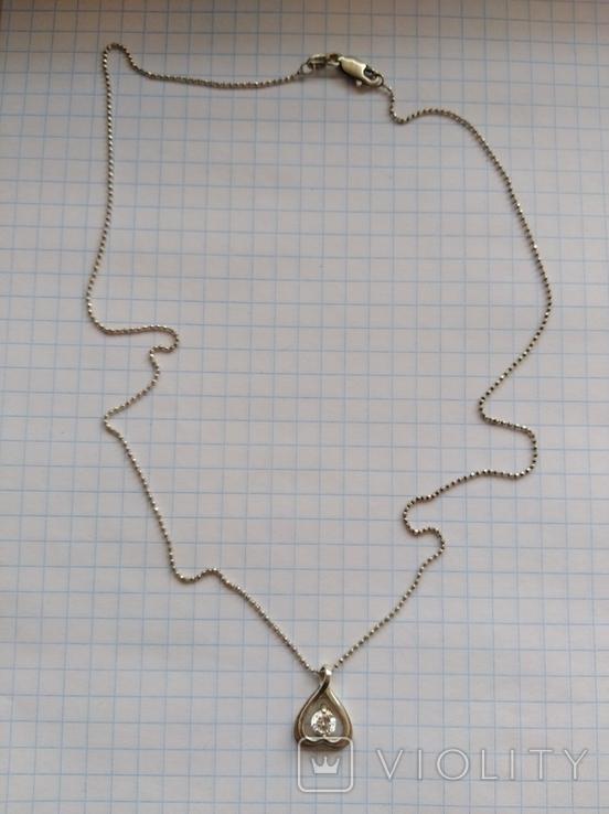 Кулон с цепочкой серебро 925 проба с камнем, фото №10