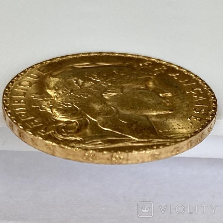 20 франков. 1911. Петух. Франция (золото 900, вес 6,47 г), фото №11