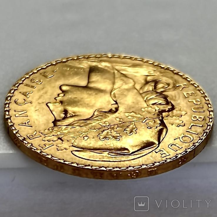 20 франков. 1911. Петух. Франция (золото 900, вес 6,47 г), фото №12