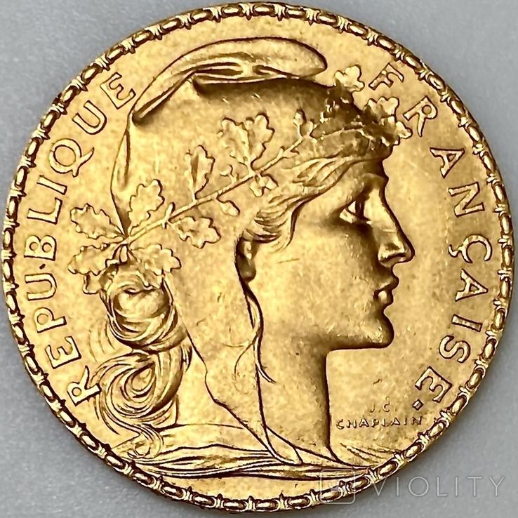 20 франков. 1912. Петух. Франция (золото 900, вес 6,47 г), фото №2