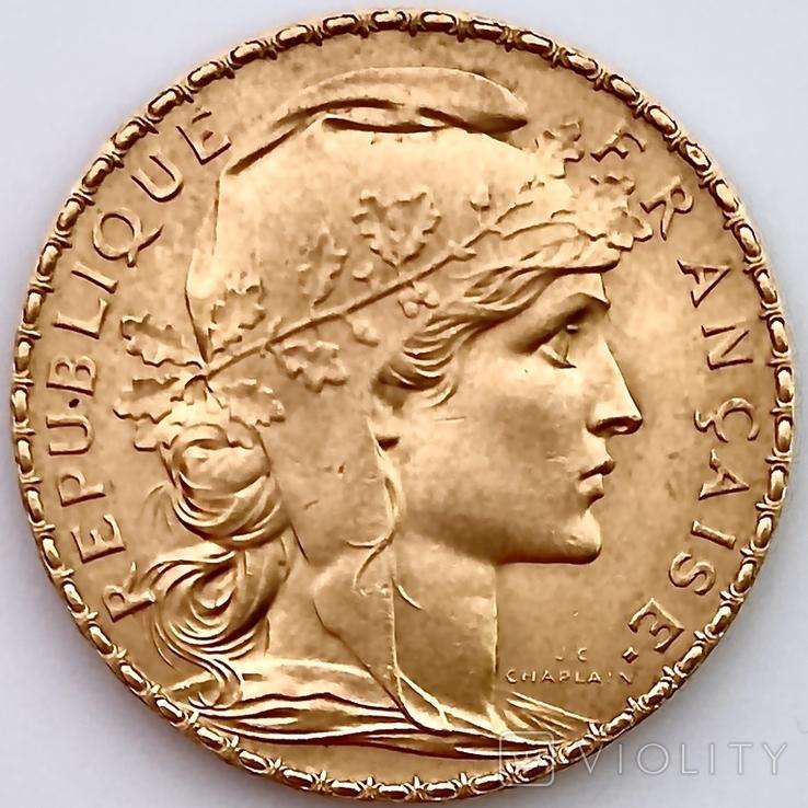20 франков. 1912. Петух. Франция (золото 900, вес 6,47 г), фото №6