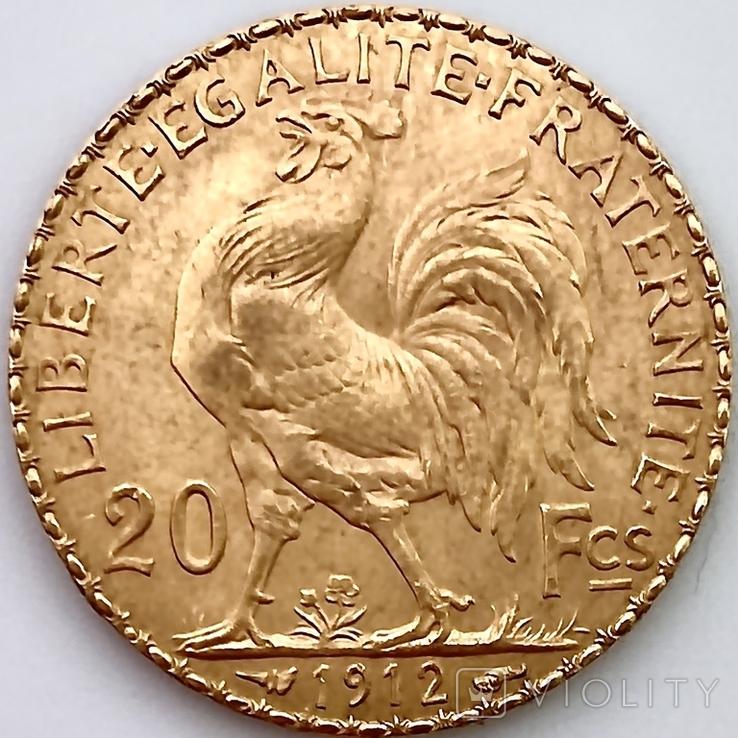 20 франков. 1912. Петух. Франция (золото 900, вес 6,47 г), фото №7