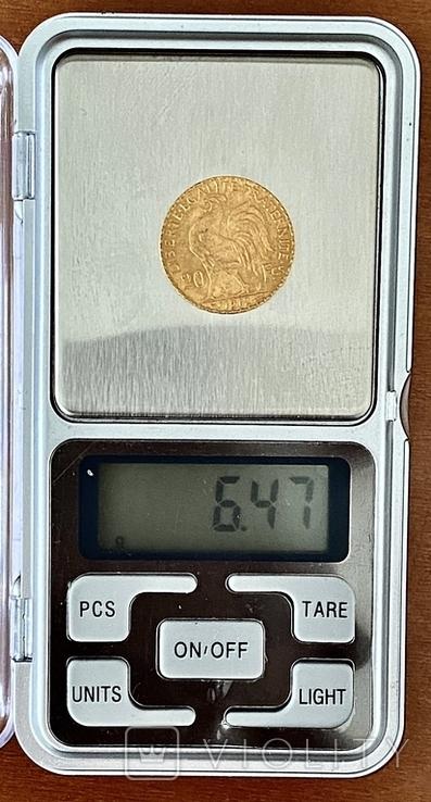 20 франков. 1912. Петух. Франция (золото 900, вес 6,47 г), фото №12