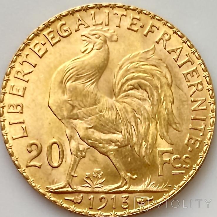 """20 франков. 1913. """"Петух"""". Франция (золото 900, вес 6,46 г), фото №5"""