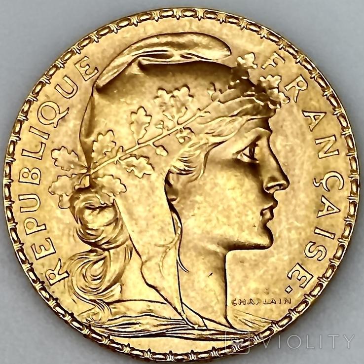 """20 франков. 1913. """"Петух"""". Франция (золото 900, вес 6,46 г), фото №6"""