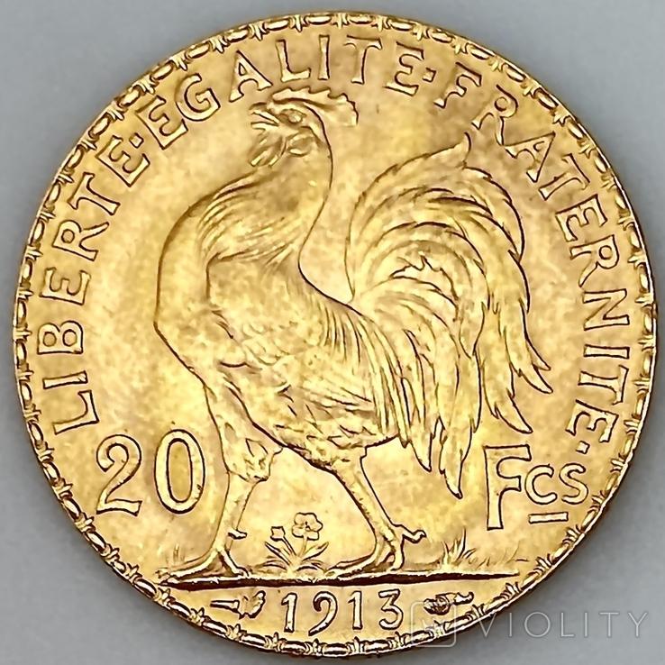 """20 франков. 1913. """"Петух"""". Франция (золото 900, вес 6,46 г), фото №7"""