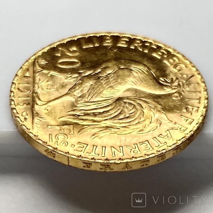"""20 франков. 1913. """"Петух"""". Франция (золото 900, вес 6,46 г), фото №8"""