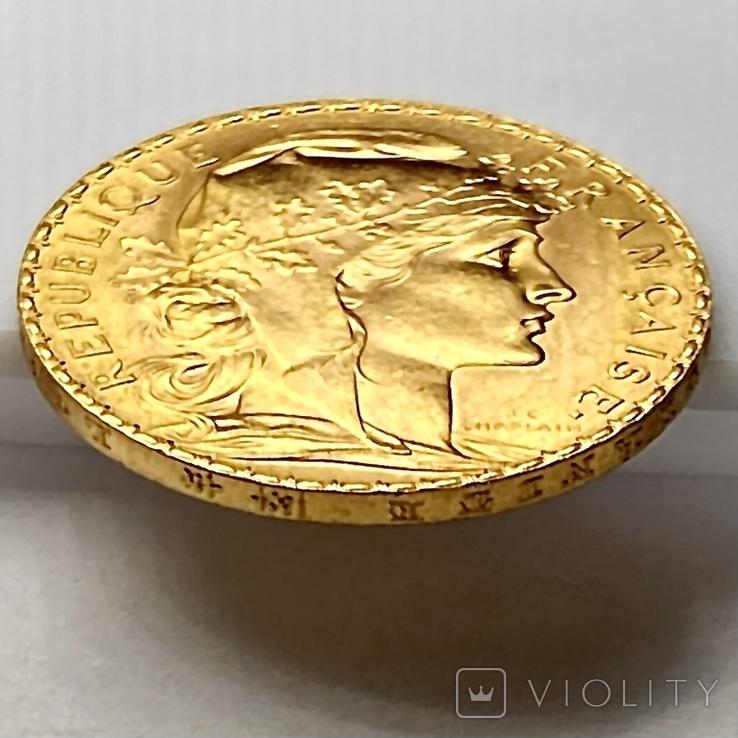 """20 франков. 1913. """"Петух"""". Франция (золото 900, вес 6,46 г), фото №11"""