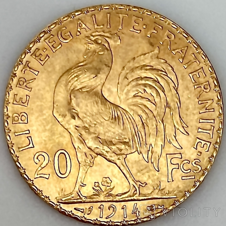 20 франков. 1914. Петух. Франция (золото 900, вес 6,46 г), фото №4