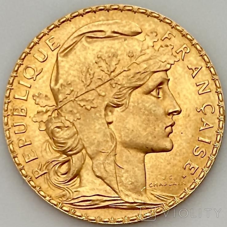 20 франков. 1914. Петух. Франция (золото 900, вес 6,46 г), фото №2