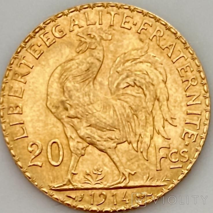 20 франков. 1914. Петух. Франция (золото 900, вес 6,46 г), фото №5
