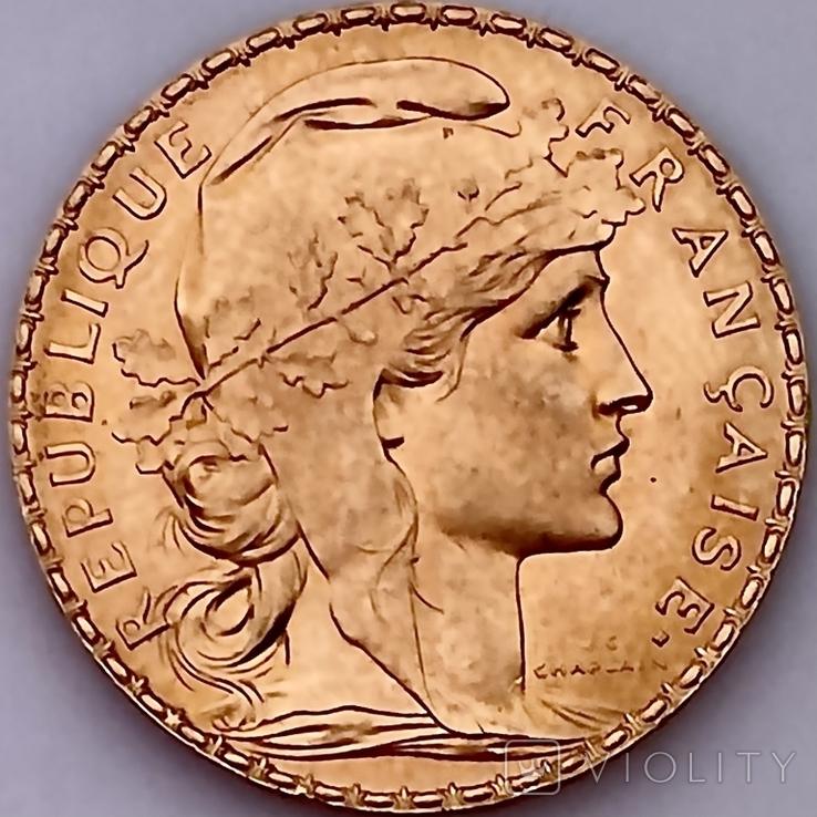 20 франков. 1914. Петух. Франция (золото 900, вес 6,46 г), фото №6
