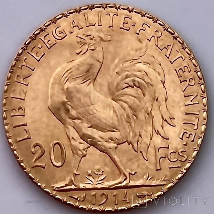 20 франков. 1914. Петух. Франция (золото 900, вес 6,46 г), фото №7