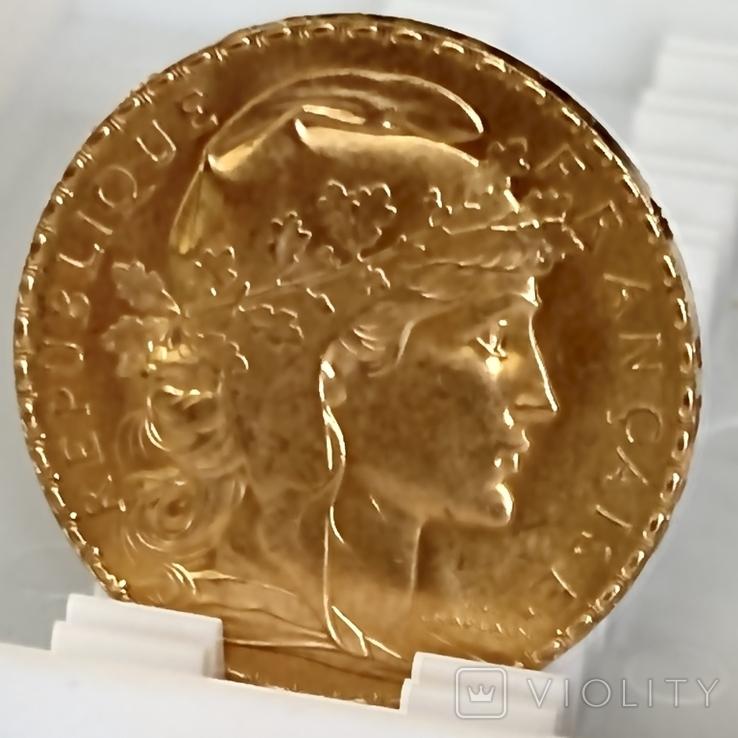 20 франков. 1914. Петух. Франция (золото 900, вес 6,46 г), фото №13